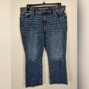 d023823d4058dd Old Navy Flare Jeans Denim Ankle Raw Hem Fringe